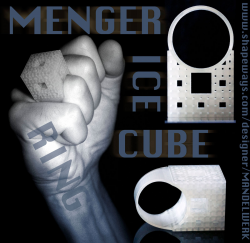 Menger Ice Cube - 3D printed Ring