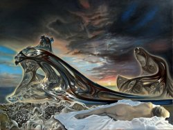 """Diane Sleeping While a Quaternion Blankets the Sky with the Skin of the Ocean to Signal Evenin"