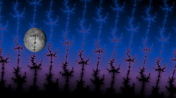 Night over fractal forrest