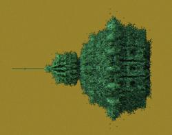 "Largest minibrot of ""flower"" 3-d Mandelbrot attempt"
