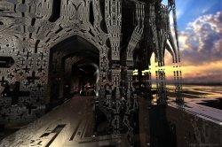 Dark Temple at Sunrise