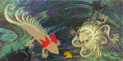 Friends: Fractolotl and Octofractalpus meet in the garden