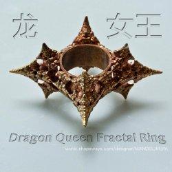 Dragon Queen Fractal ring - 3D printed in Bronze
