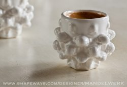 Mandelbulb Espresso Cup 3D printed in ceramics