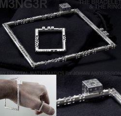 M3NG3R Bracelet & Ring - 3D printed in silver