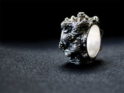 MANDELBULB Ring - Patinated Silver 3D print