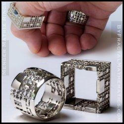 Menger Matrix Rings - 3D Printed - Sterling Silver
